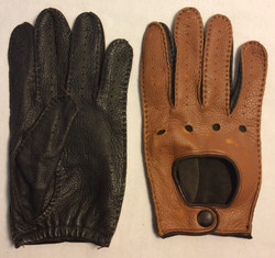 Harry Rosen Pair of soft brown leather driving gloves with black leather palms
