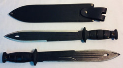 "Condor knife tactical jungle knife 13"" black blade x2 real x3 rubber x1 sheath"