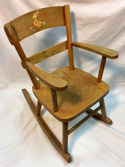 Child-size wooden rocking chair