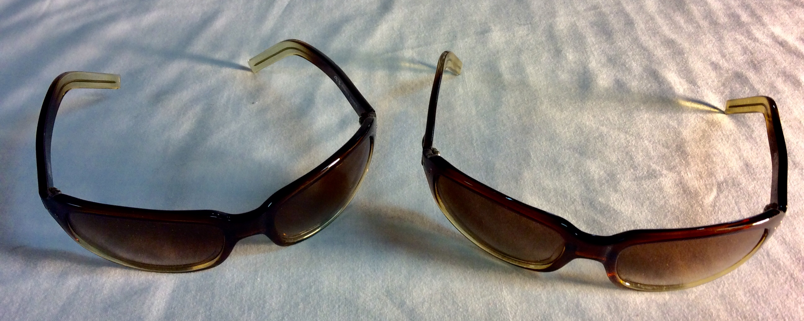 Brown and yellow frame sunglasses