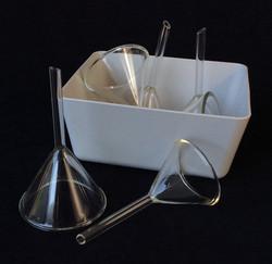 Small glass labratory funnels