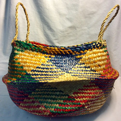 Multicolor African woven basket round shaped base