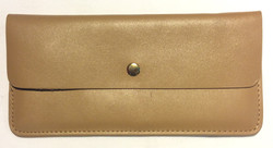 Thin beige leather wallet with round