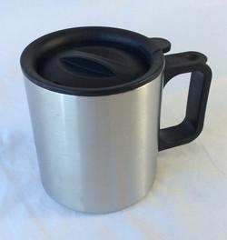 Portable metal coffee thermos, mug shaped