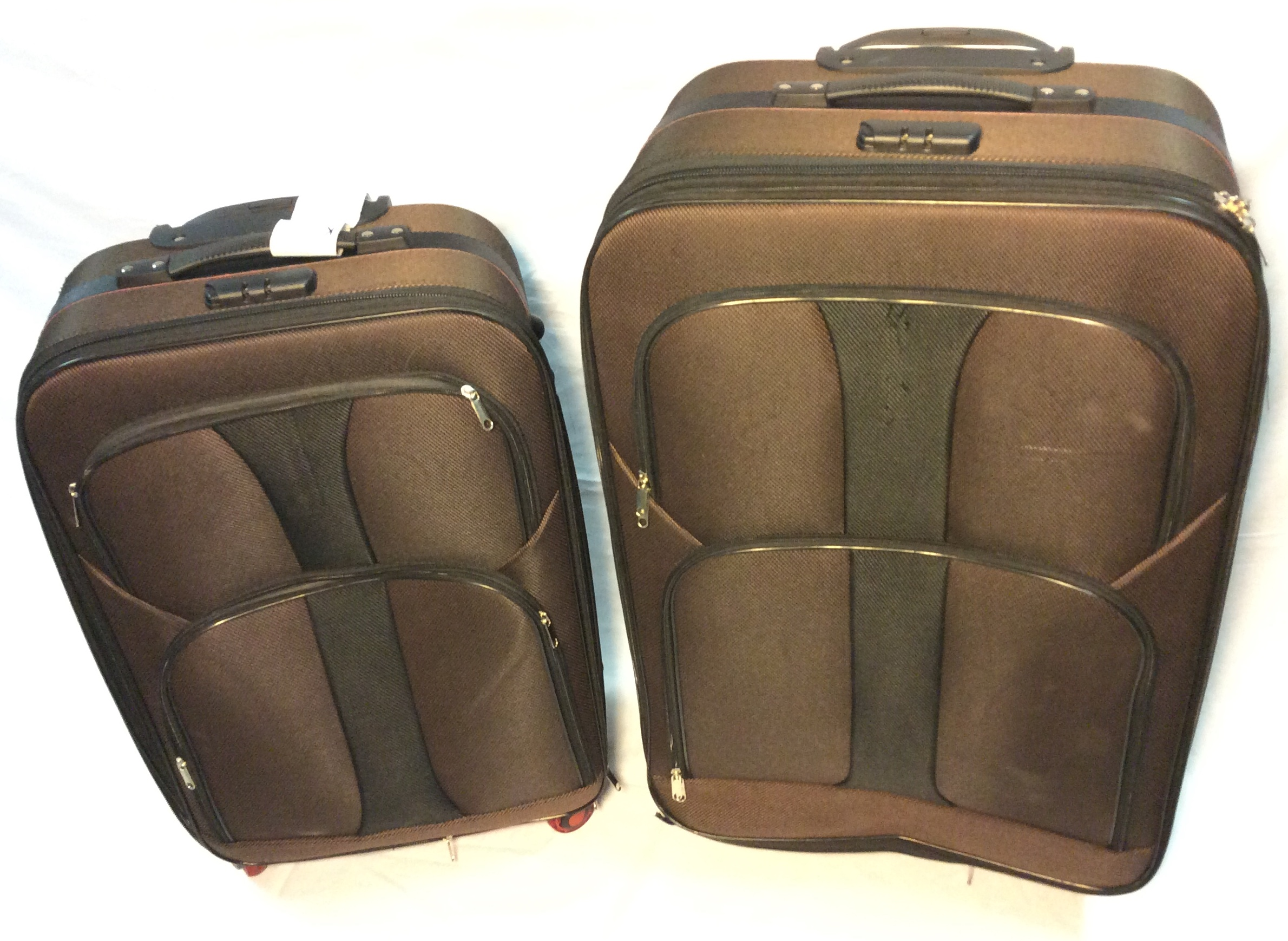 Brown and Black, 2 pc 4-wheeled suit