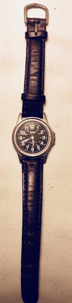 Plain black face watch