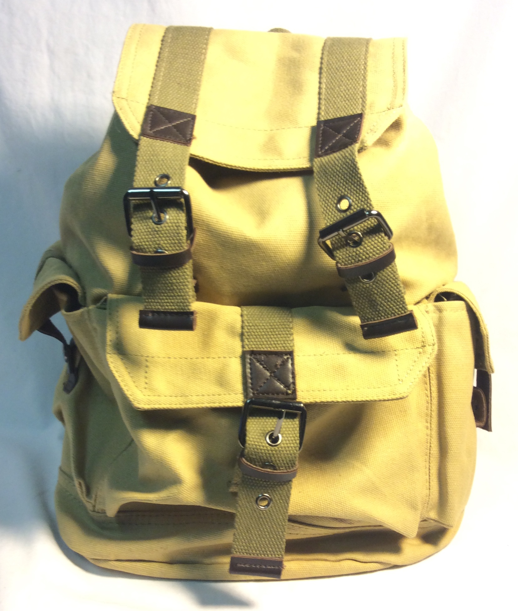 Yellow canvas backpack