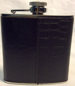 6oz silver flask with leather cover