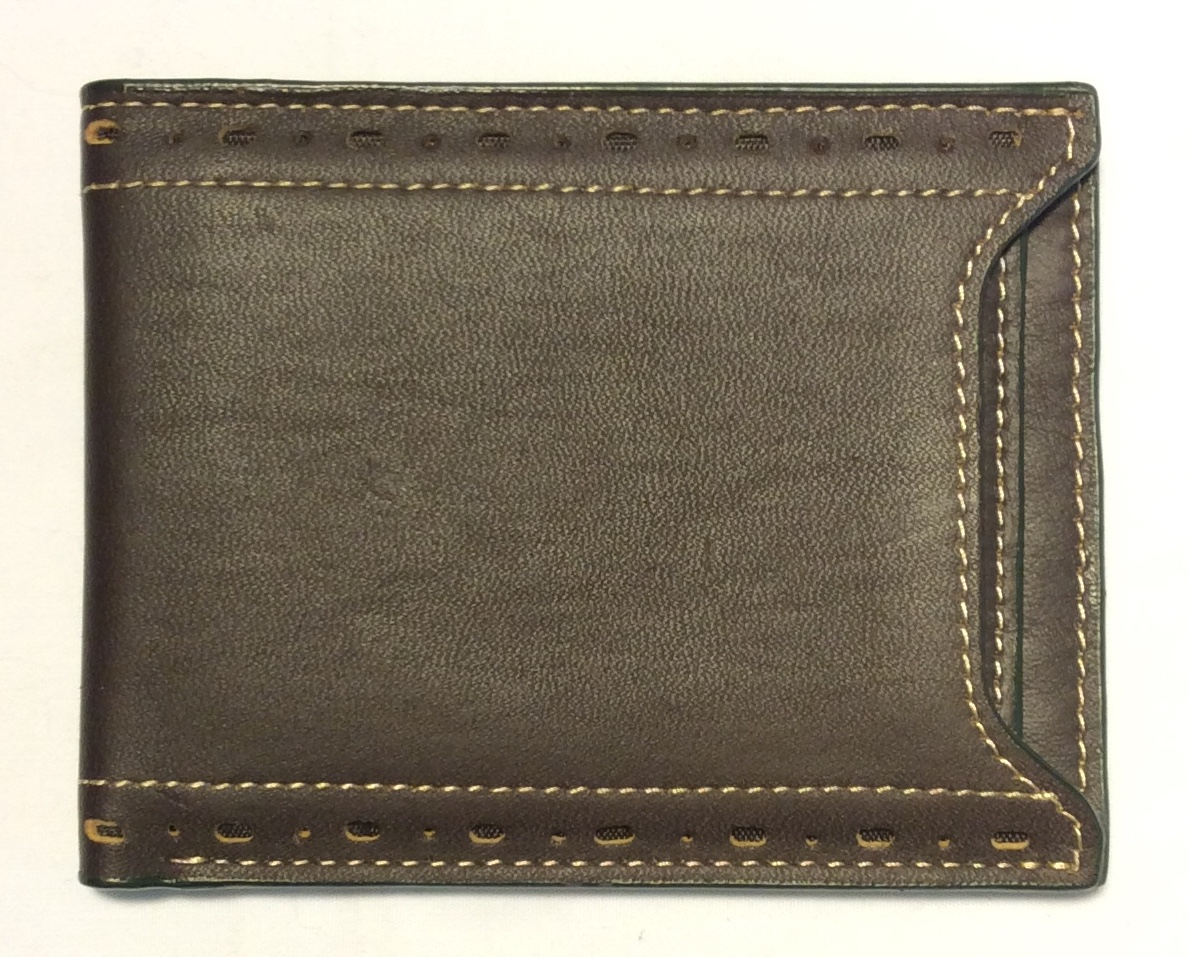 Thin dark brown leather wallet