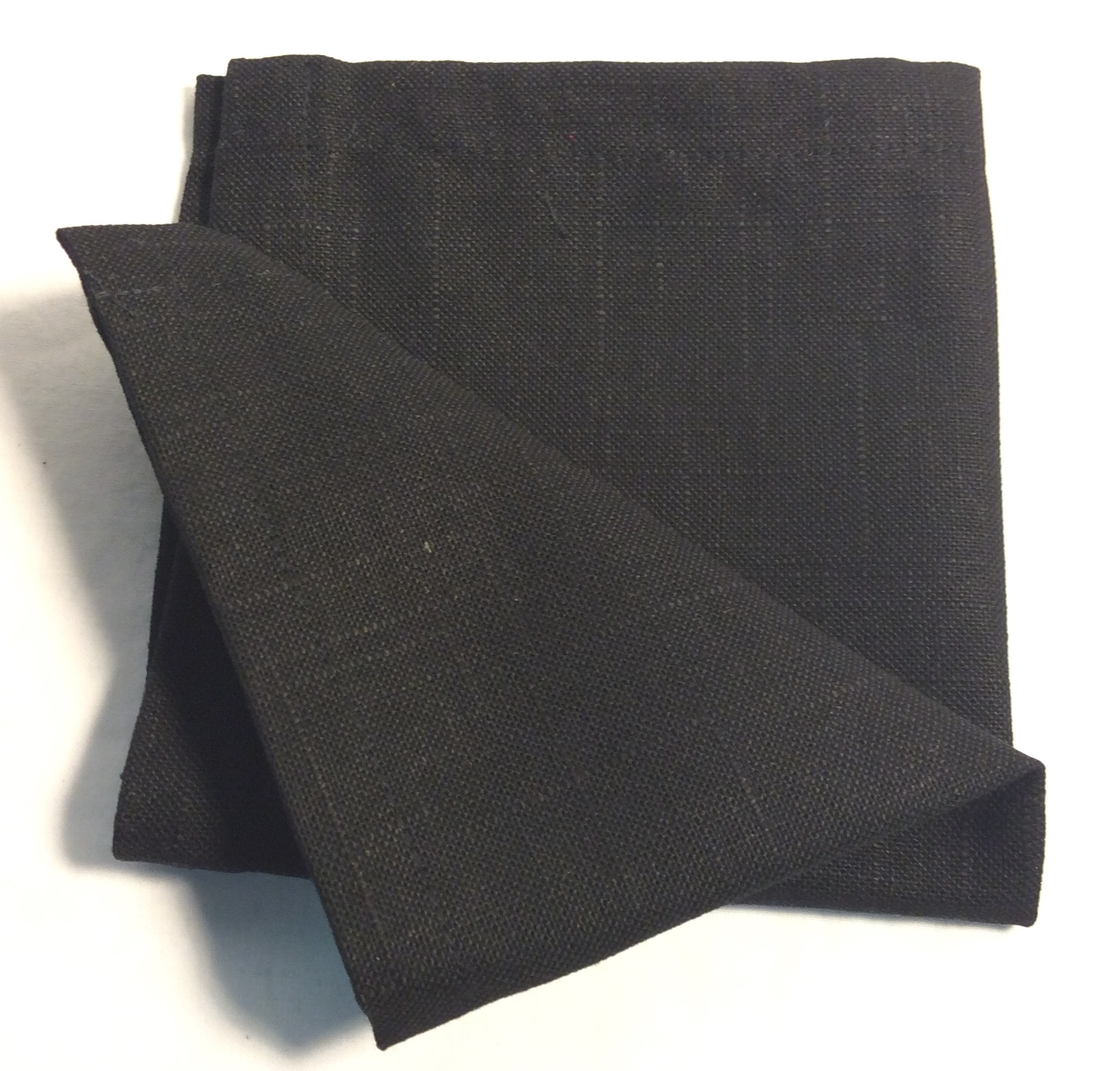 "Black square cloth napkins 12""x12"" - x20"