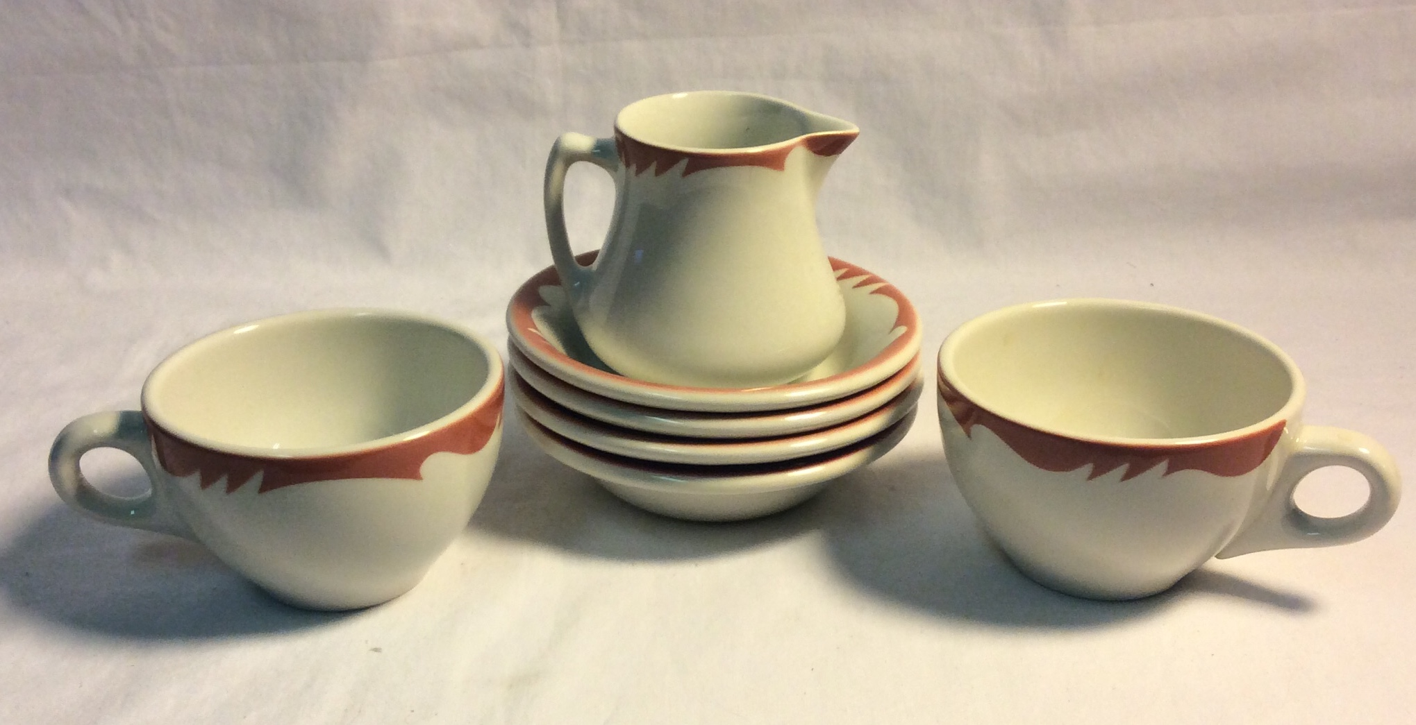 Assorted vintage diner dishes - tea cups, sugar plates, creamer - 7pcs