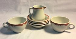 Assorted vintage diner dishes - tea cups, sugar plates, creamer - 7pcs
