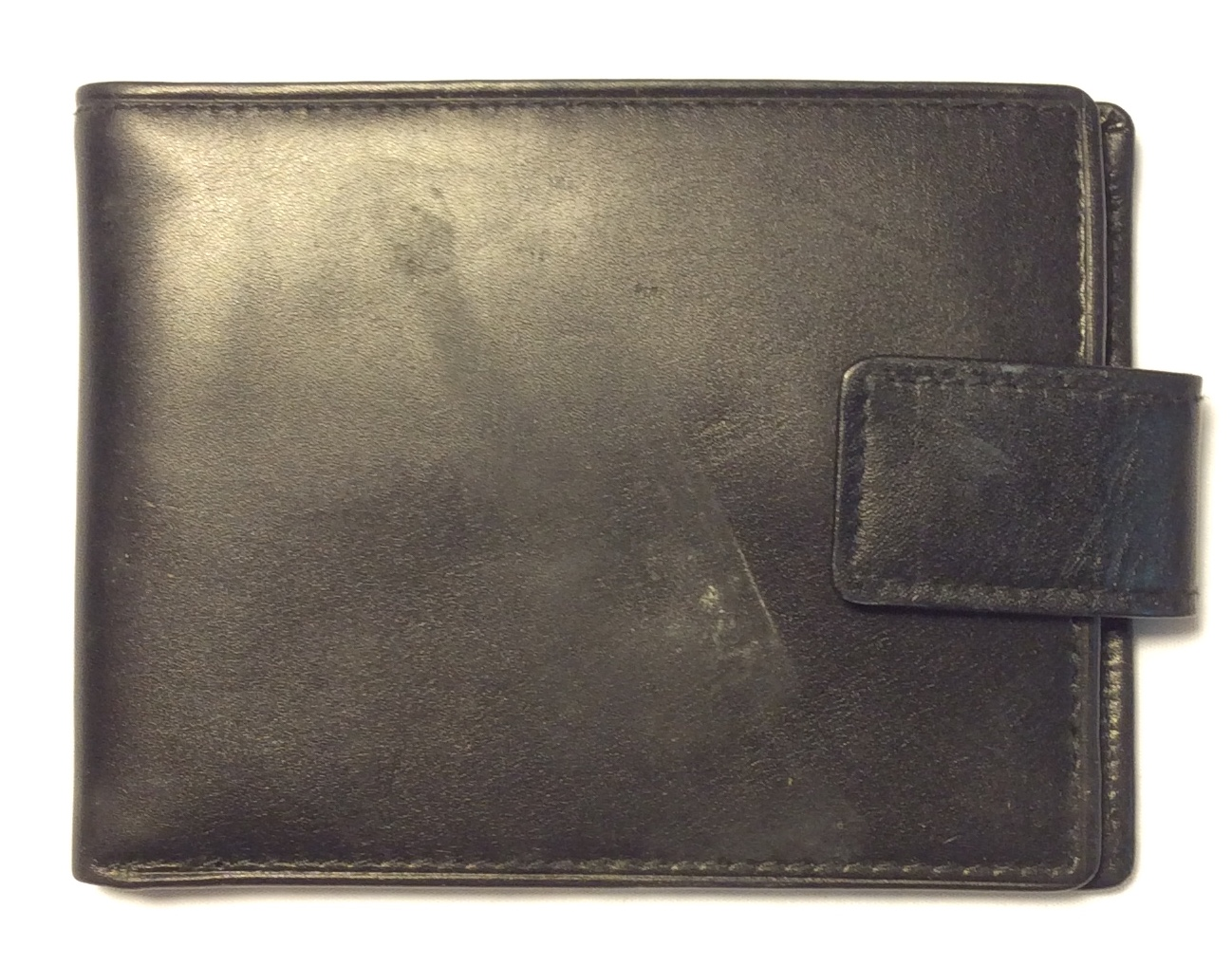 Black leather wallet with leather