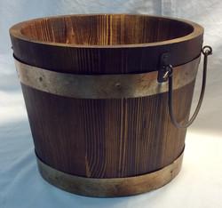 """Wooden bucket 9"""" diameter"""