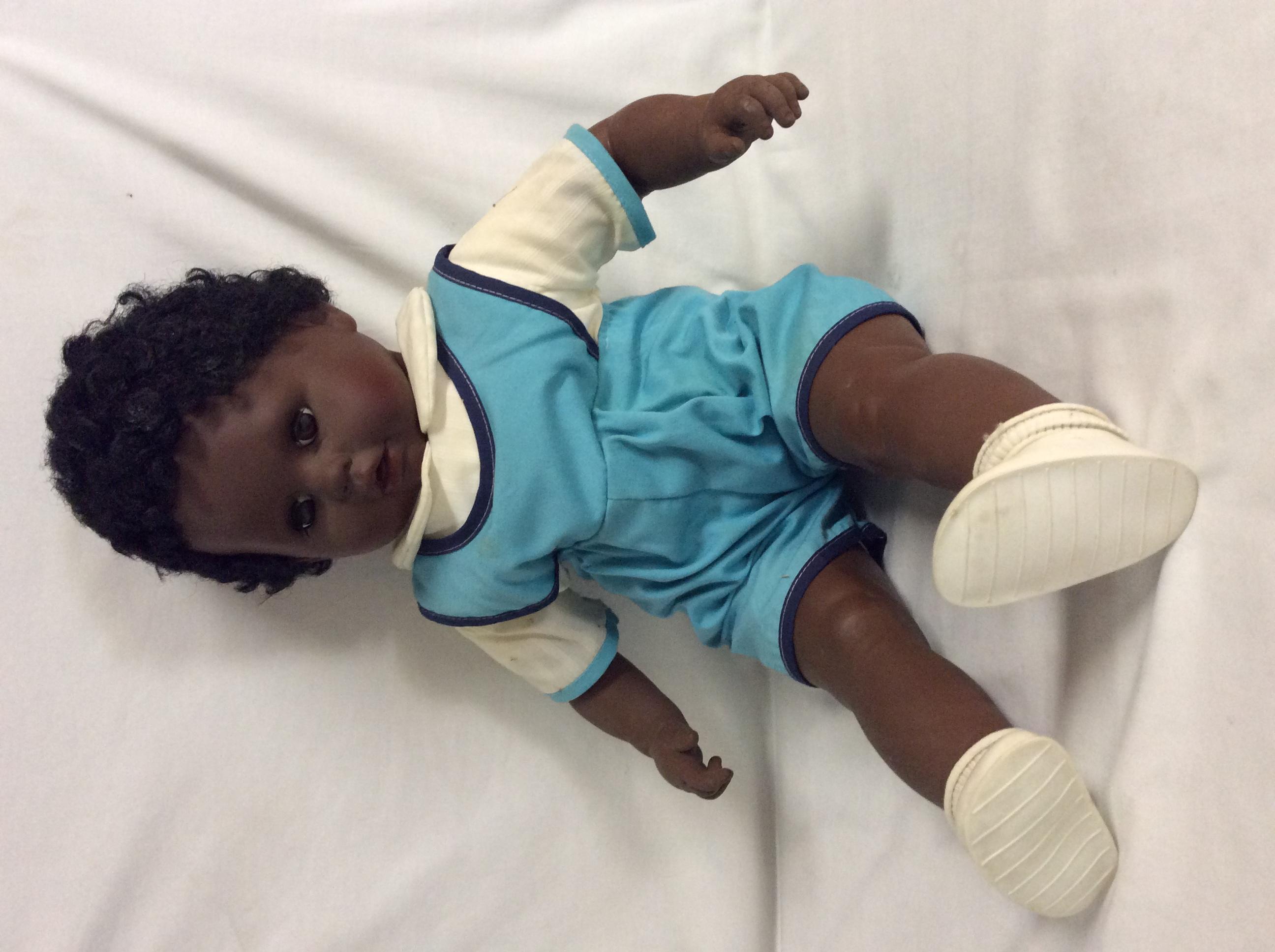 Large black baby boy doll