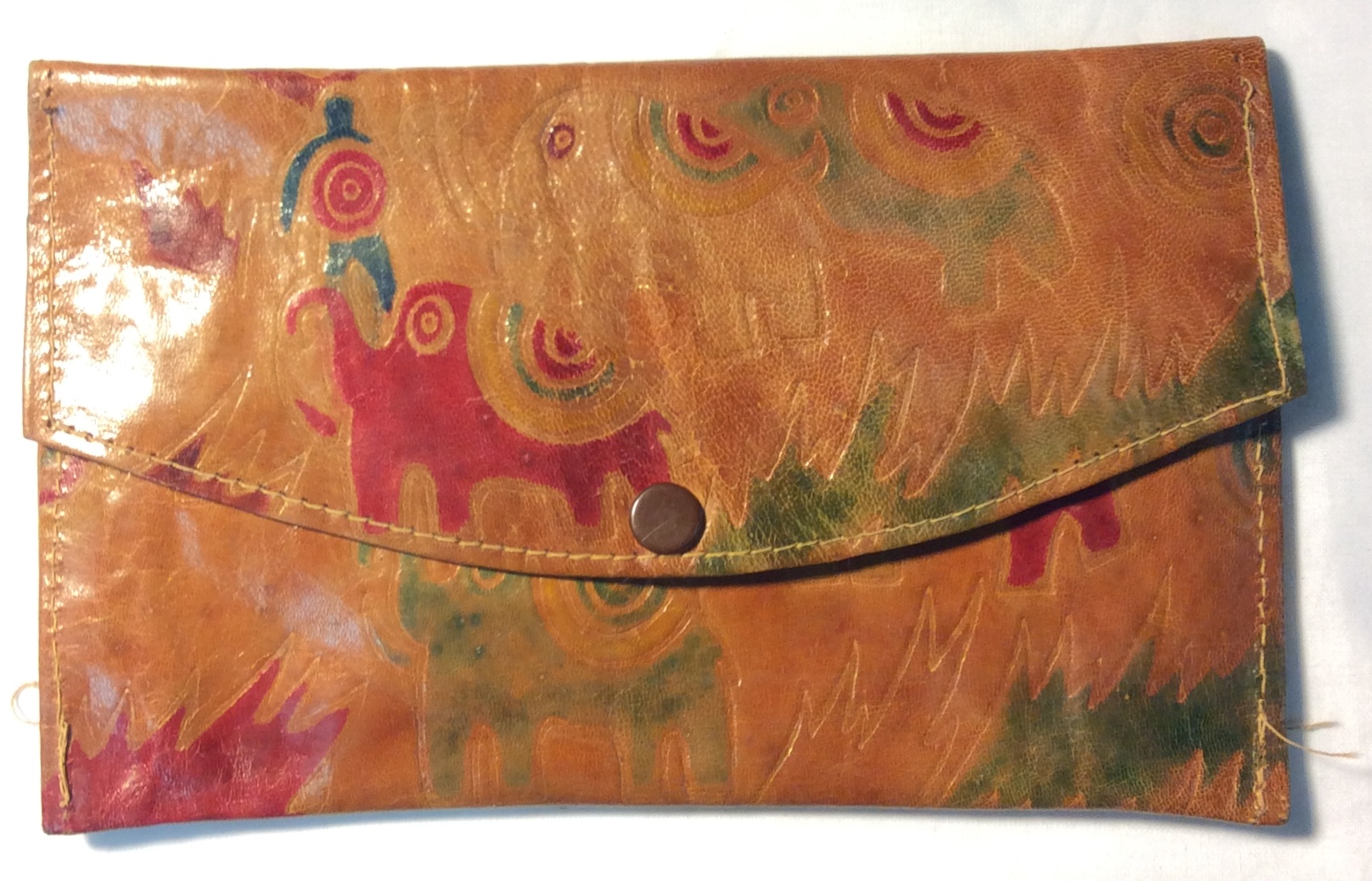 Light brown leather with red & green