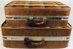 McBrine Vintage Gold Plaid luggage - 2 piece set of luggage