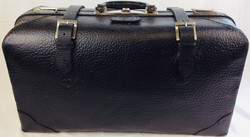 Black aged leather double strap suitcase