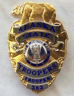 Gold Alaska State Trooper, Sergeant, and Captain badges
