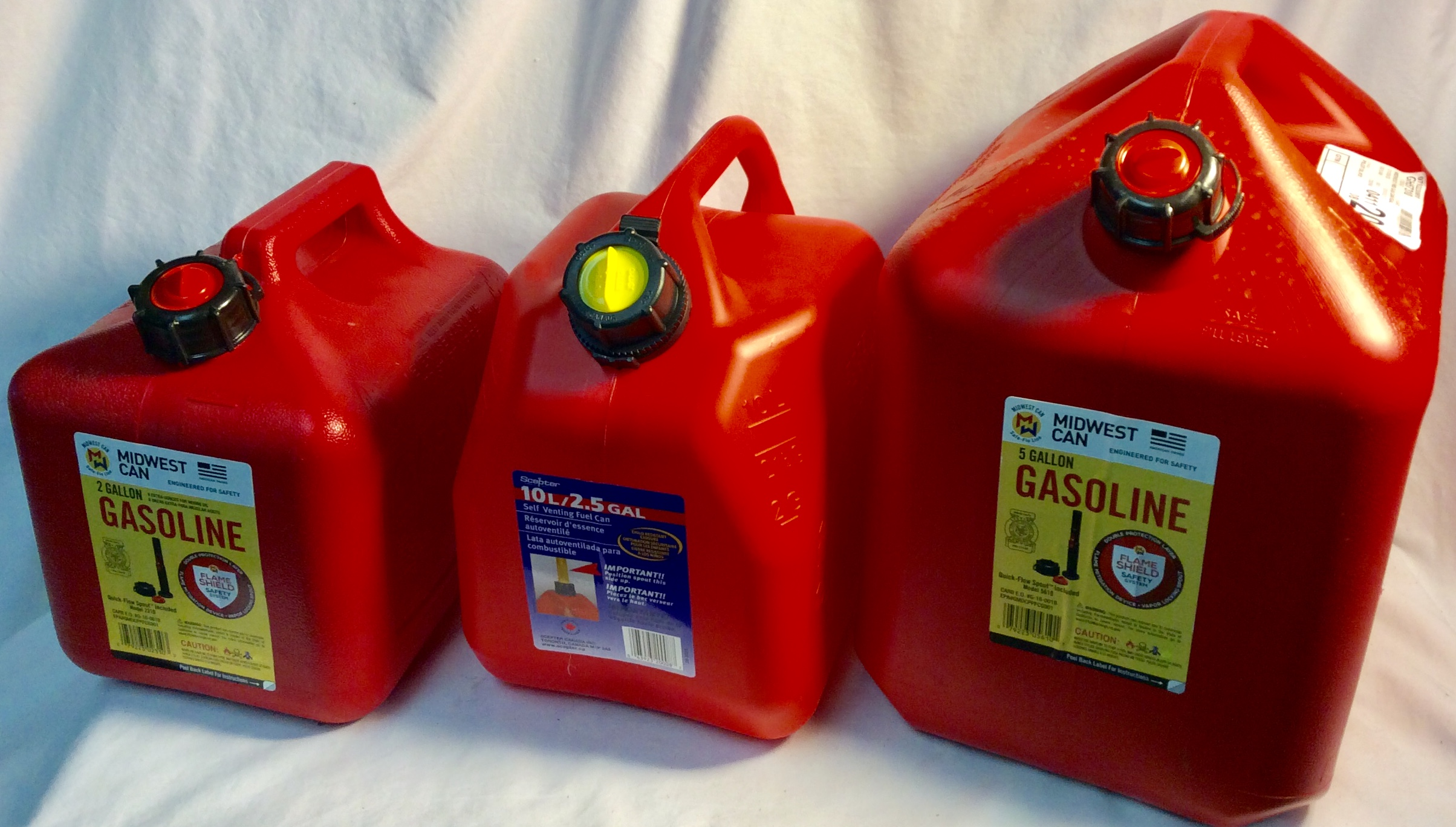 Assorted sizes new gasoline gallons