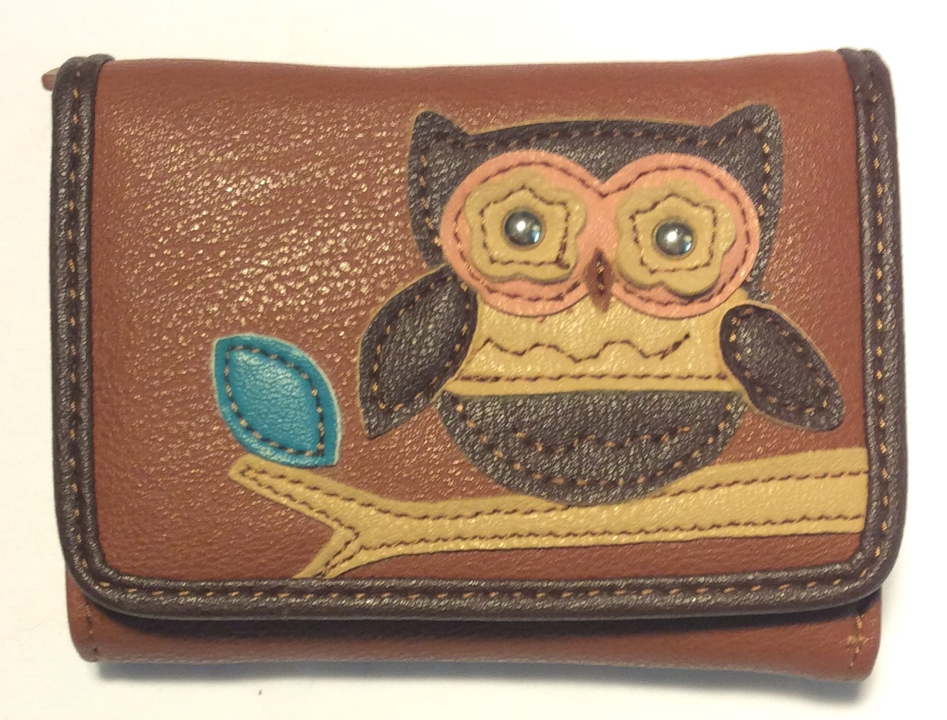 Light brown leather wallet with dark