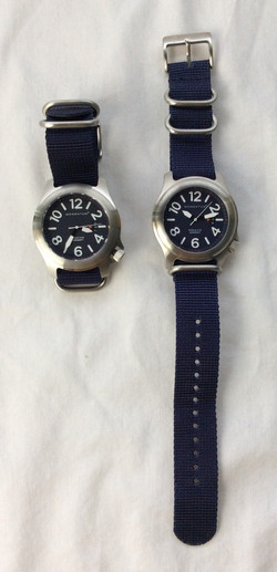 Momentum bulky navy watch with blue fabric strap