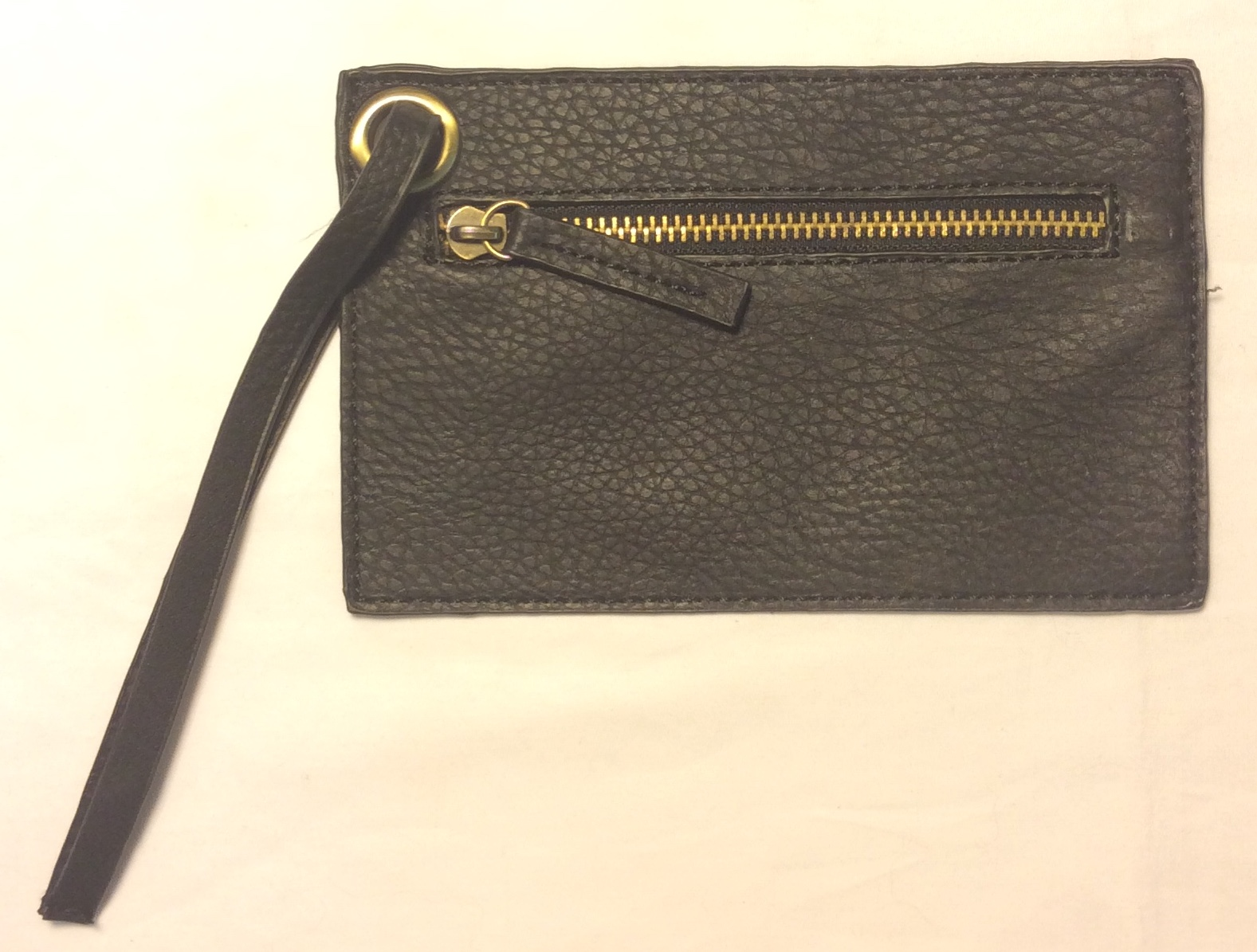 Thin black leather coin purse