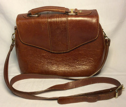 Brown leather hard case purse