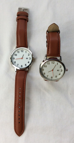 Silver and white modern watch with leather strap