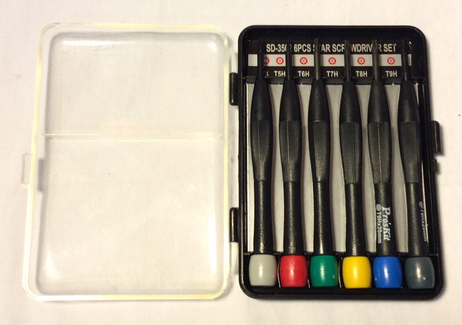 6 black plastic star screwdriver set