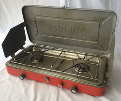 Primus portable camping stove, red.