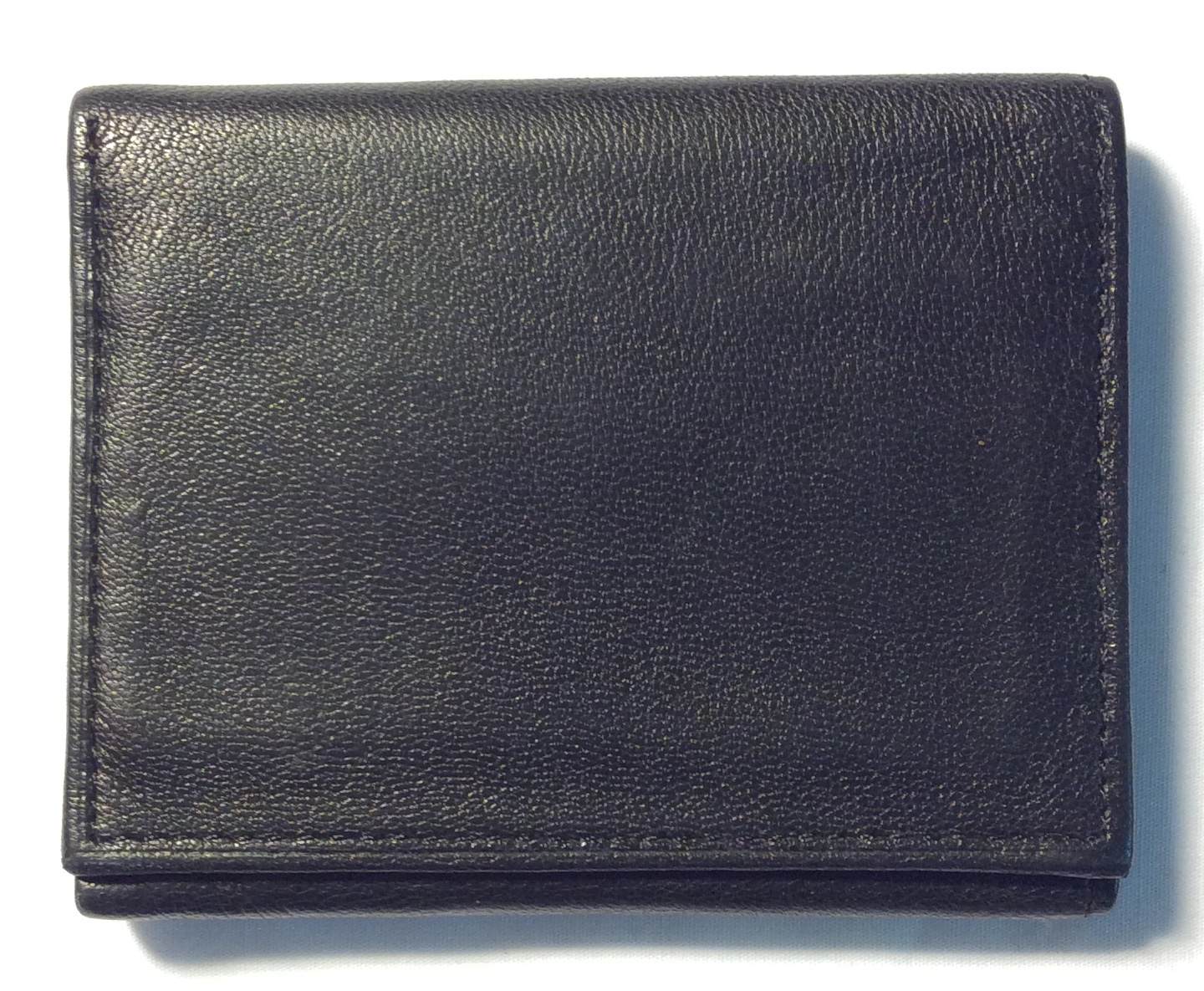 black leather trifold