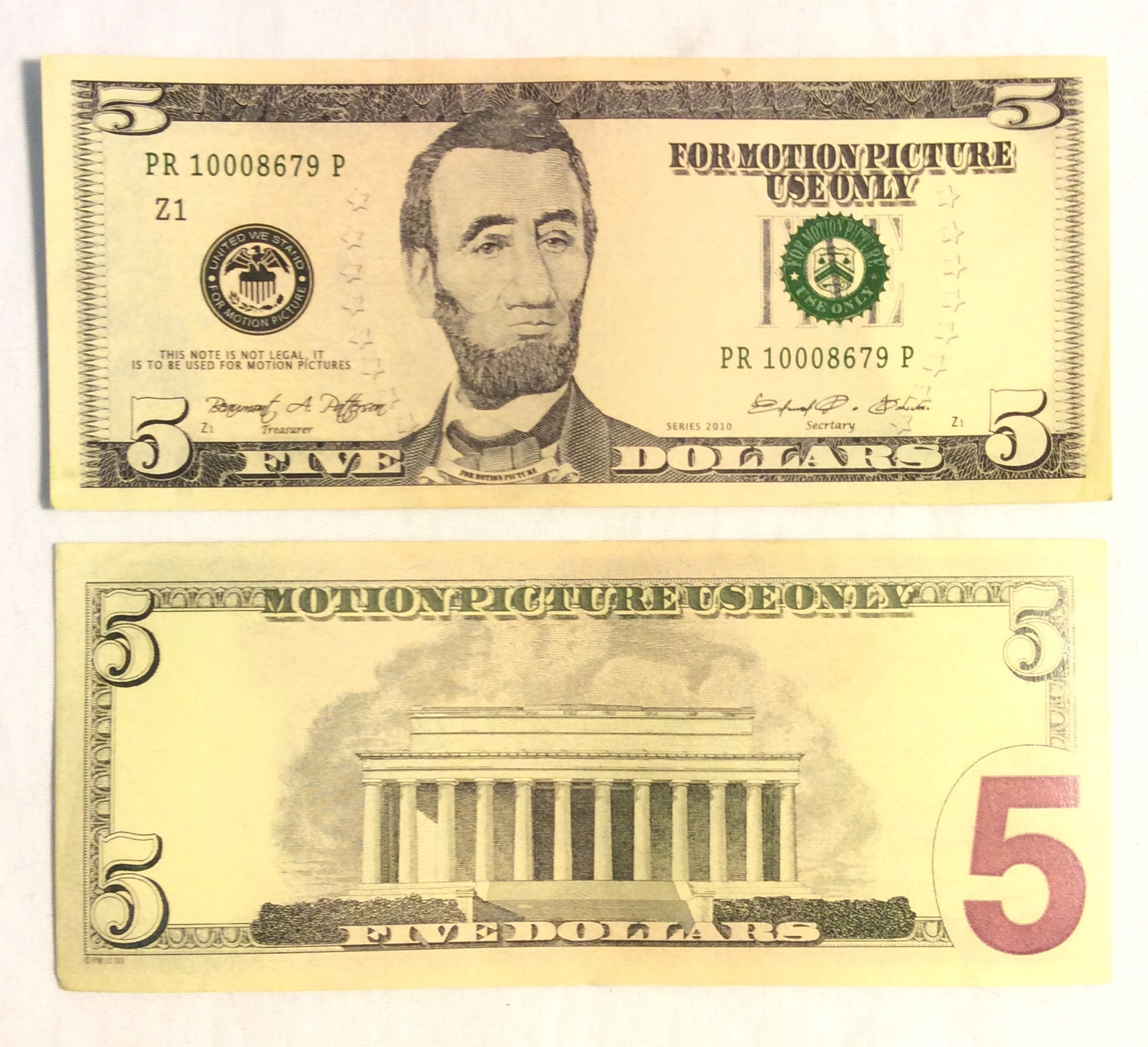 US $5 Bill, double-sided
