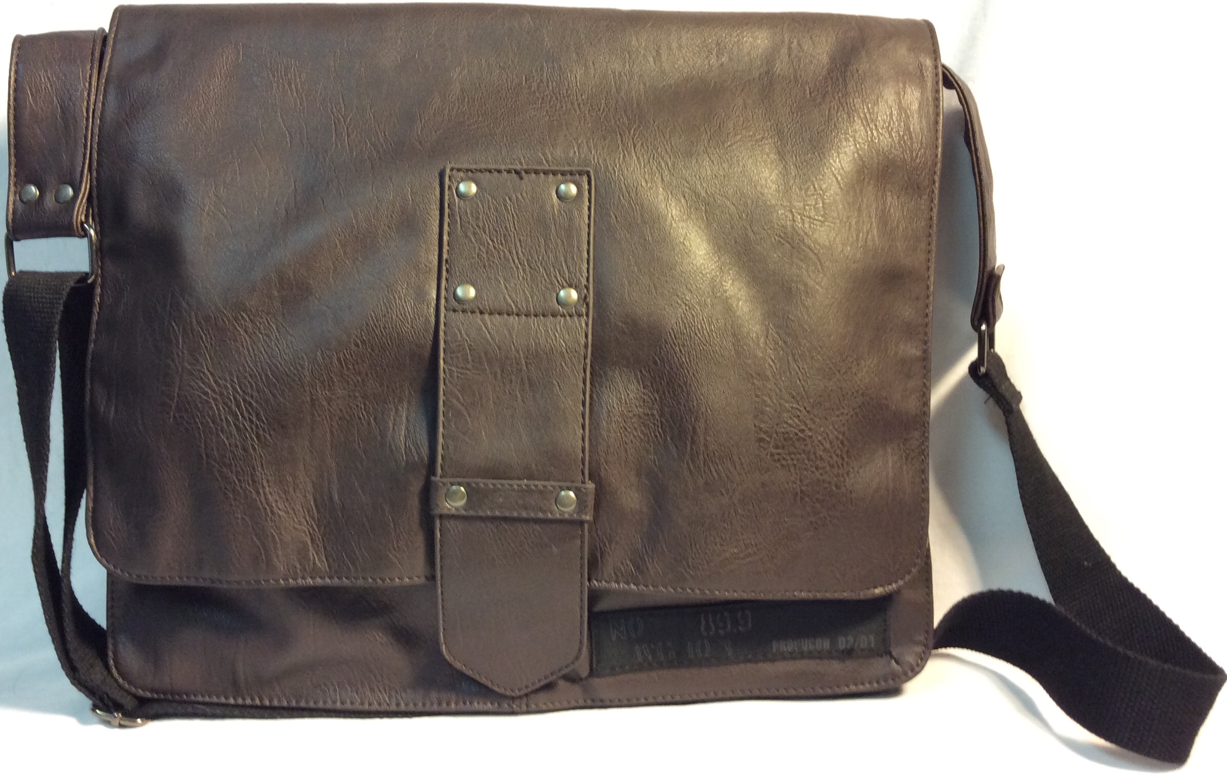 Urban Behavior Brown leather satchel bag with front buckle