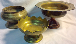 Assorted aged golden ritual chalices/bowls