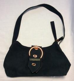 Emilie M. Small black suede purse