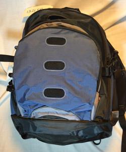 Smallish blue and black backpack