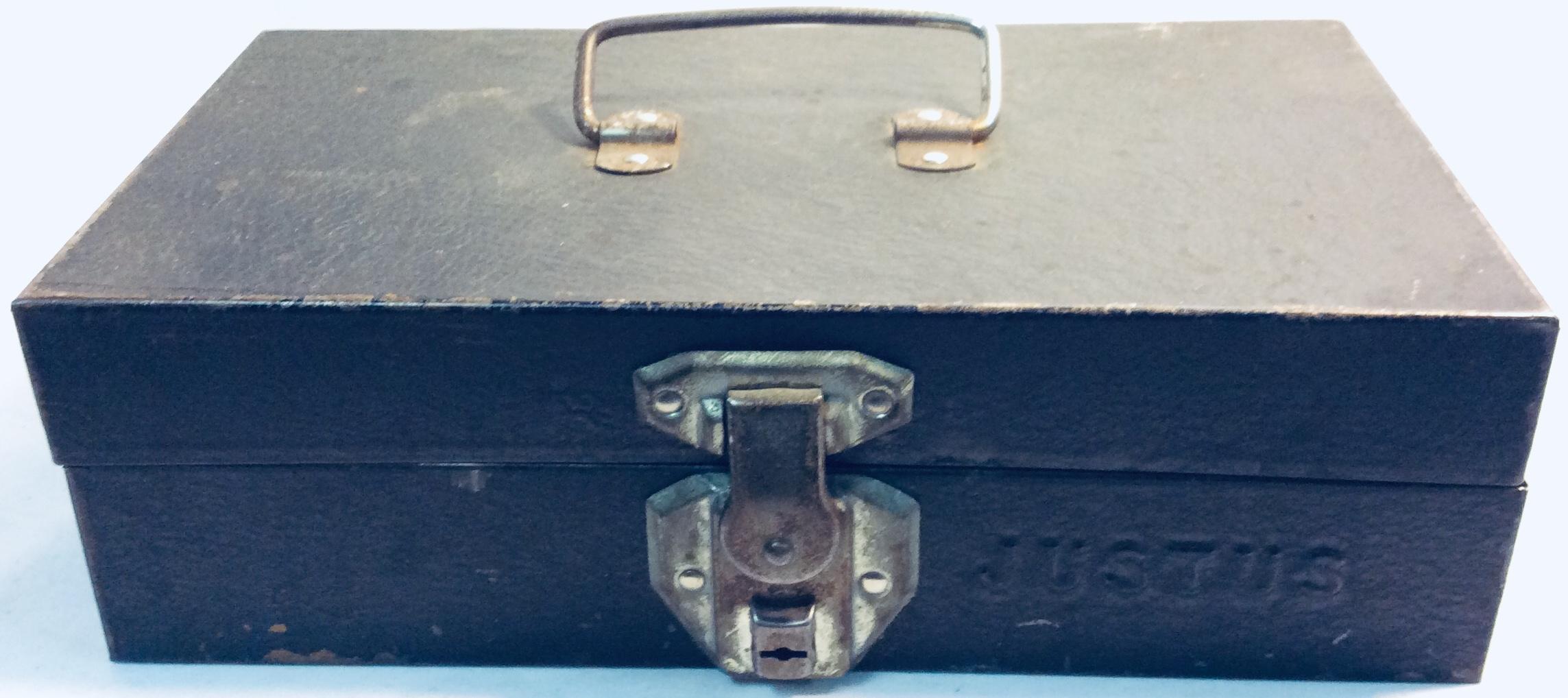 Vintage black small tool box (locked)