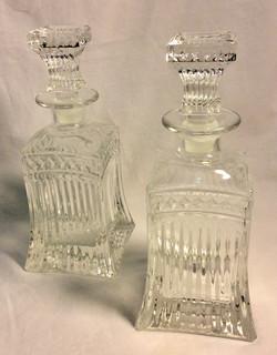 Vintage cut glass decanters - x2