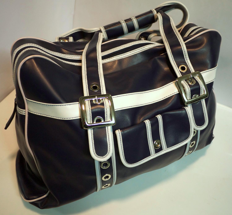 White and blue handbag