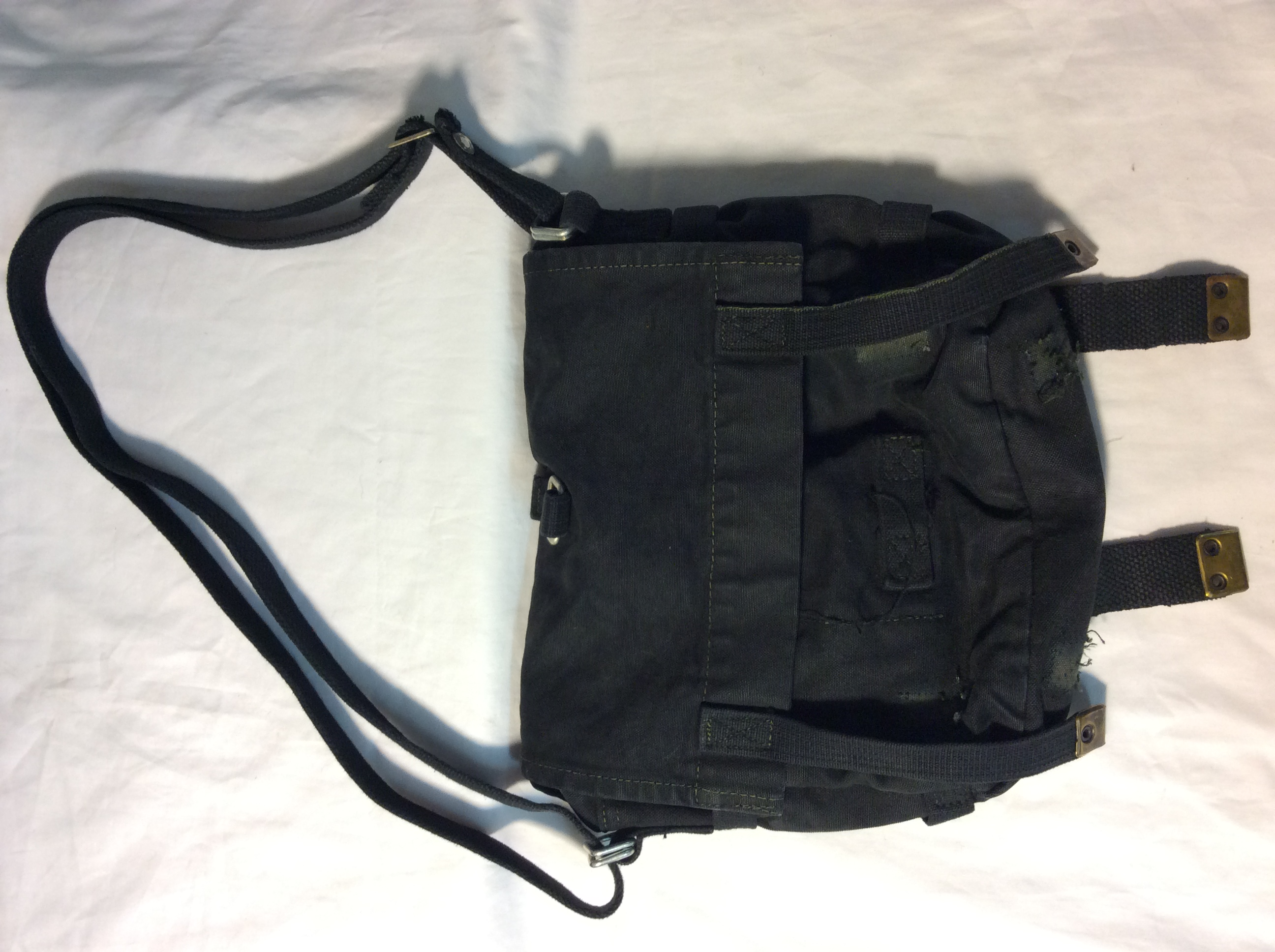 Worn black cloth bag