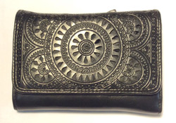 Black leather wallet with paisley