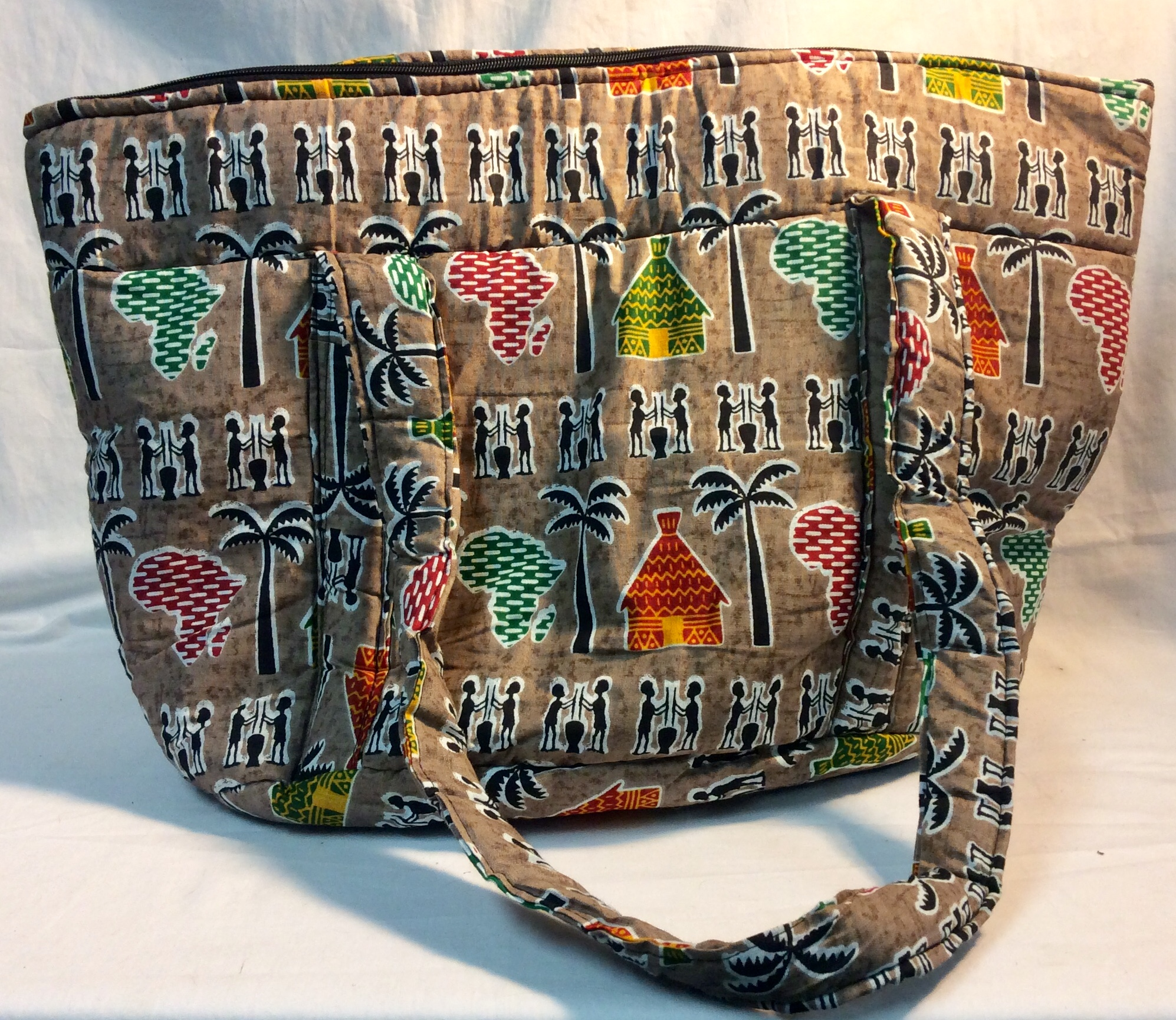 Brown African print fabric bag