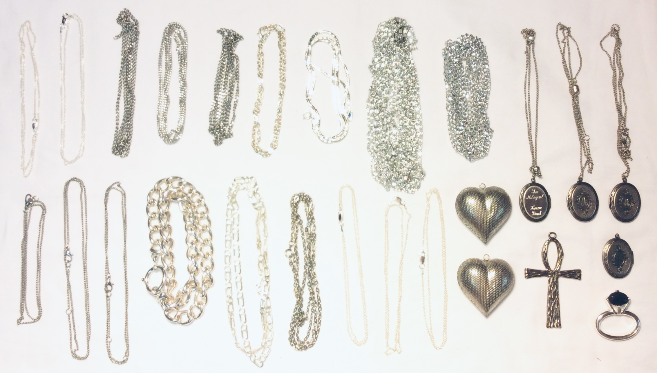 Assorted Silver chains/necklaces