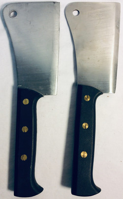 Butcher knives x2 real and x3 rubber