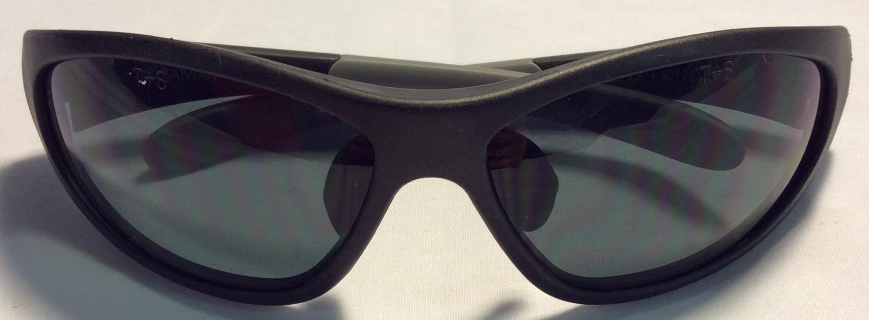 Thick matte black plastic frames