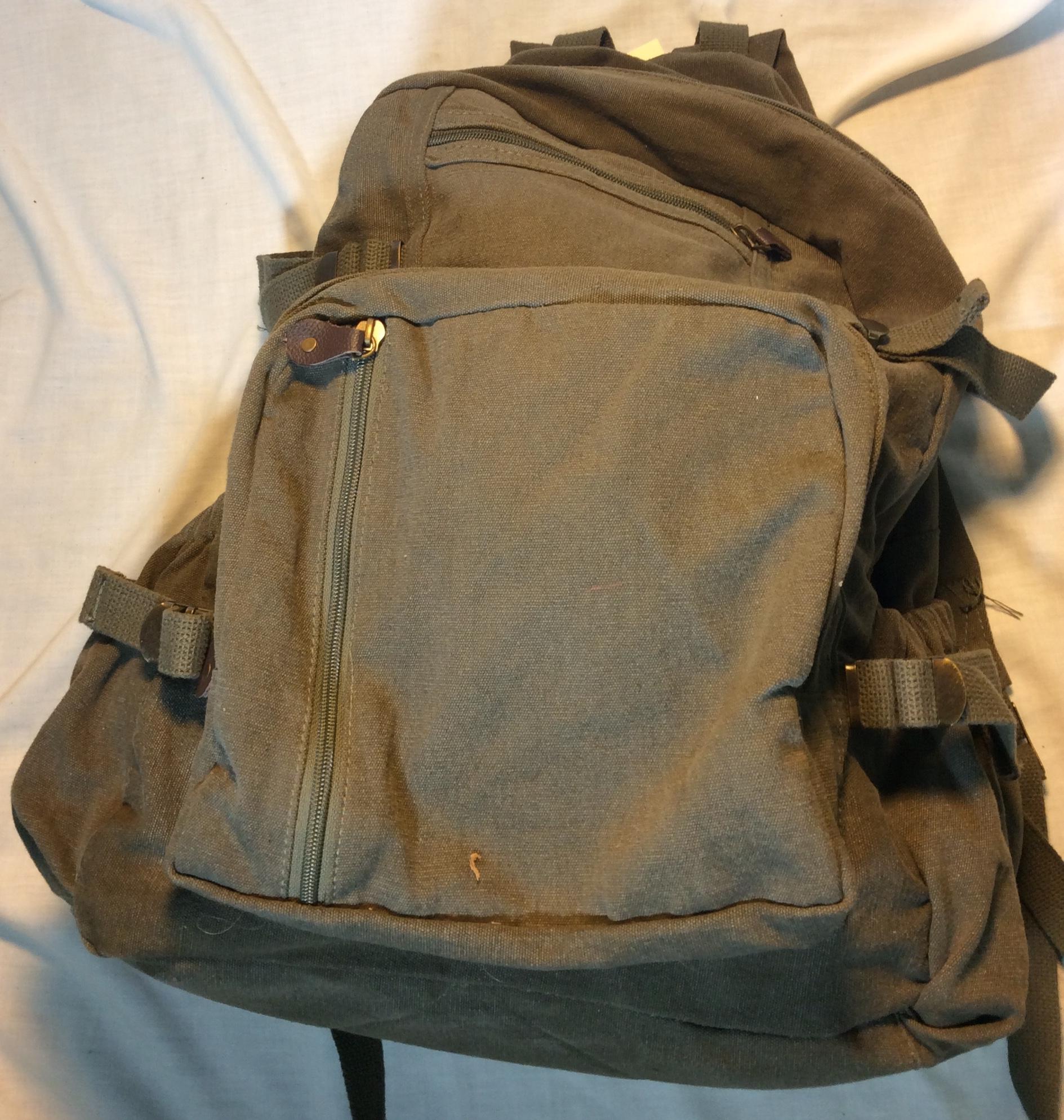 Olive Green Cloth Backpack