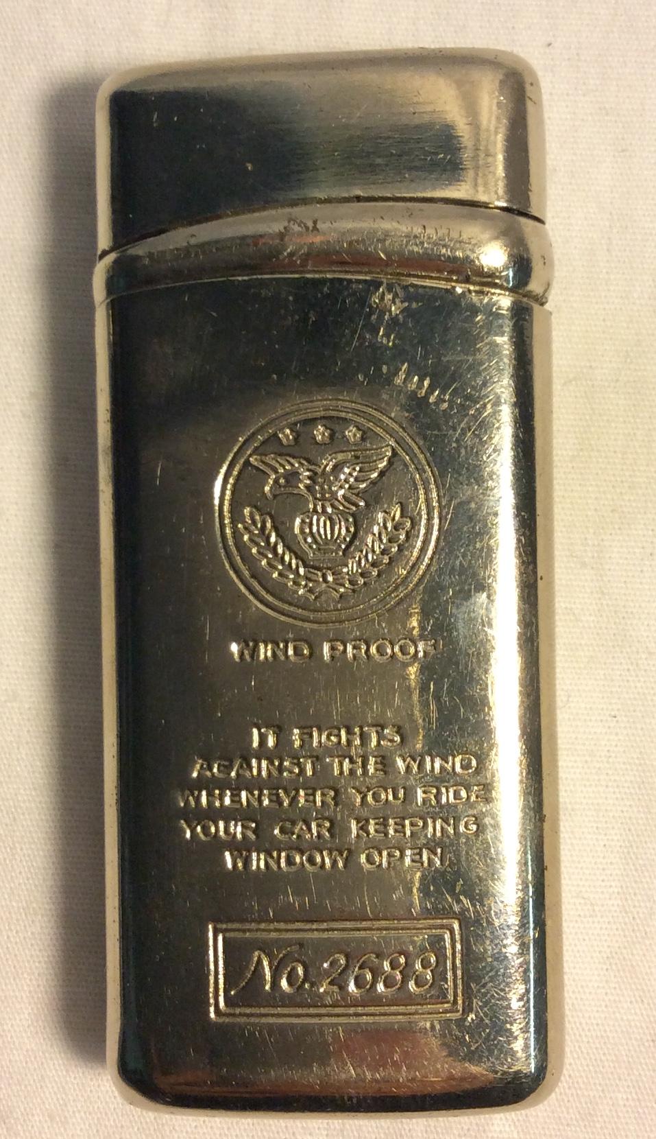Vintage chrome wind proof lighter
