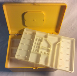 Yellow Plastic box for sewing