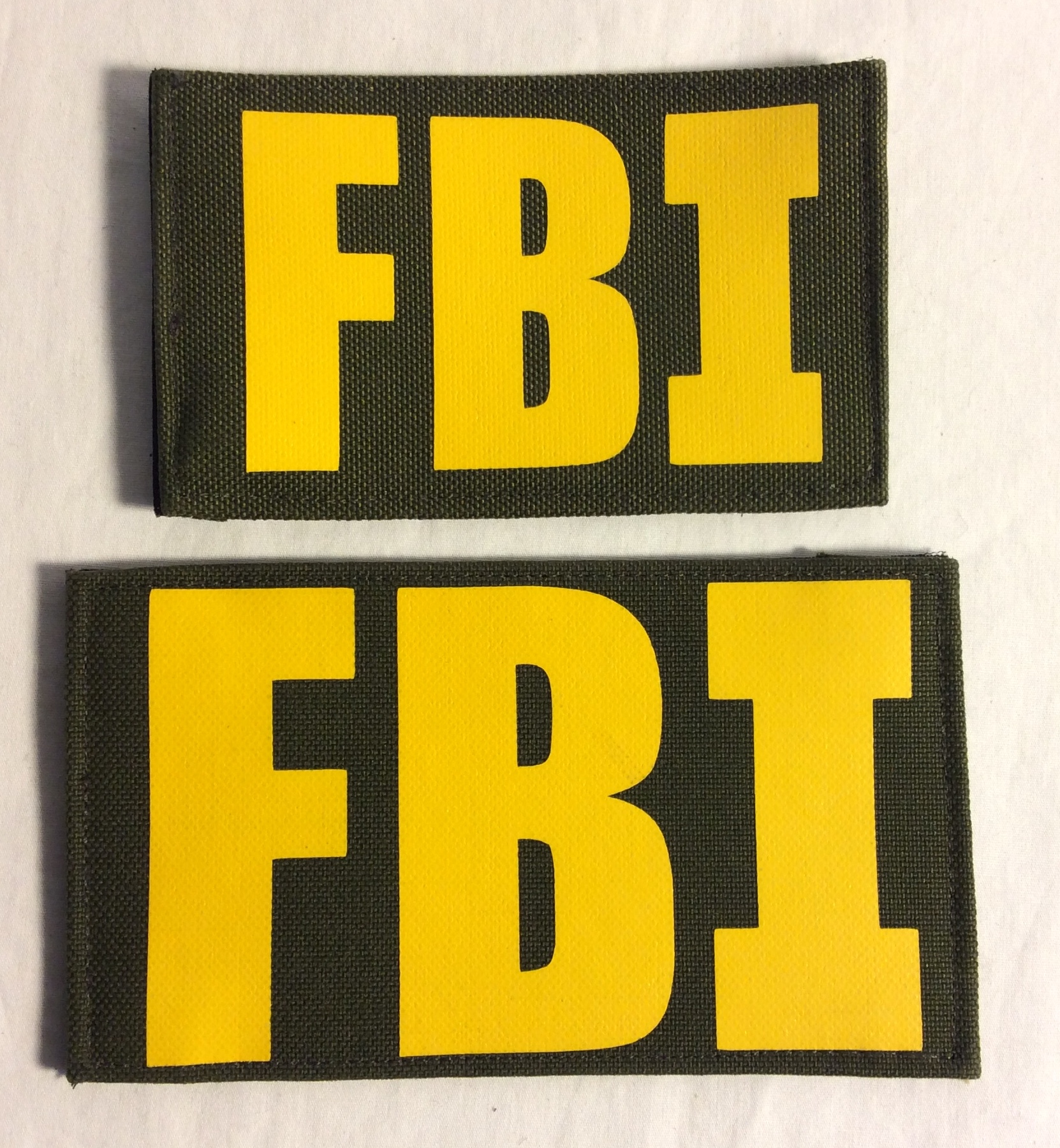 FBI Velcro Patches, Yellow on Green